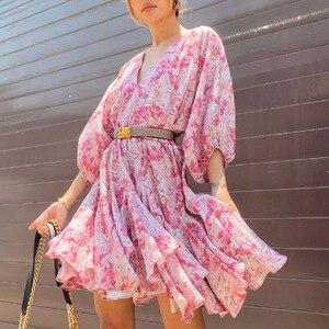 2020 Autumn New Temperament Fashion Ladies Style Belt Puff Sleeve Ruffled Short Print Dress