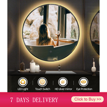 Светодиодное зеркало для макияжа, круглое противотуманное зеркало для ванной, холодный белый светодиодный светильник, Настенное подвесное...