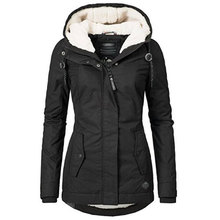 Black Cotton Coats Women Casual Hooded Jacket Coat Fashion Simple High Street Sl