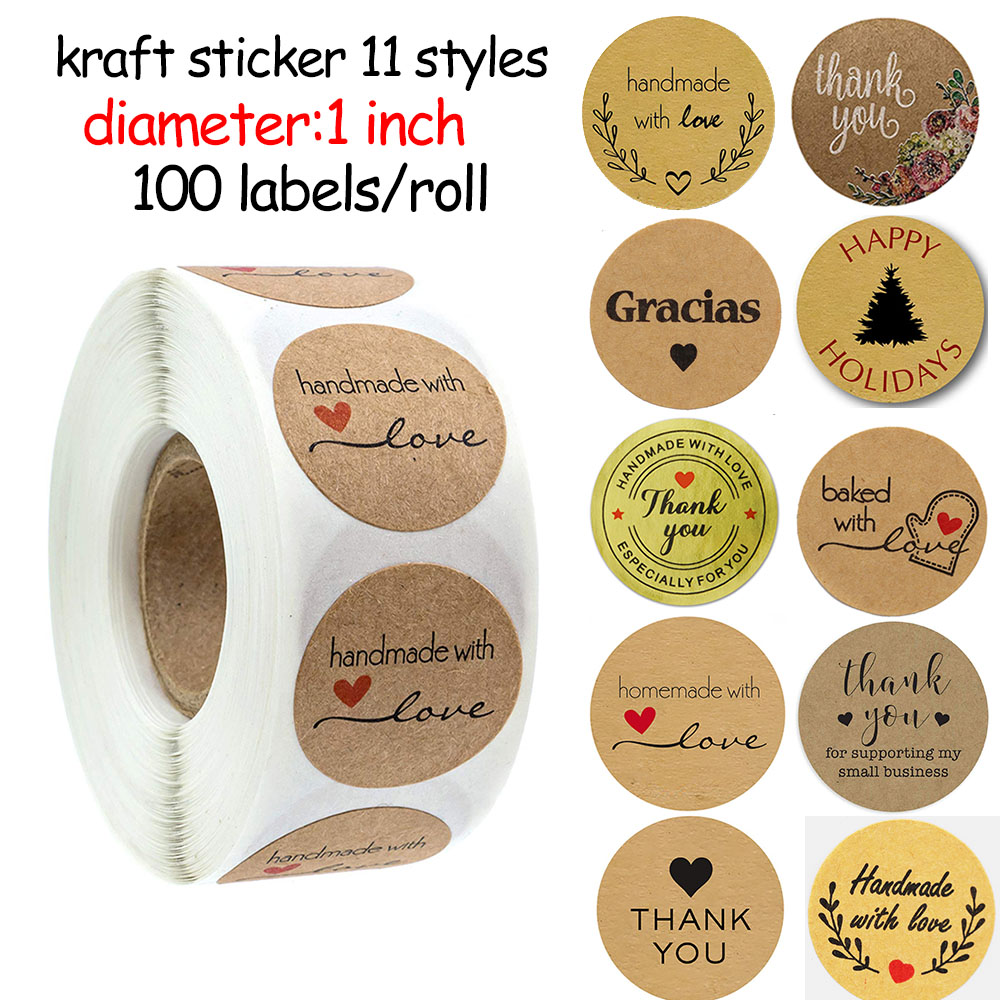 Stickers Decoration Thank-You Natural Kraft Floral Handmade Party/jewellry-Box 100pcs title=