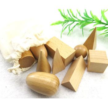 10 sztuk kształt drewniane bloczki zabawki Montessori matematyka Juguetes geometria bloki drewniane nauka edukacja wysłać torba tanie i dobre opinie none Drewna 5-7 lat Sport TQT64