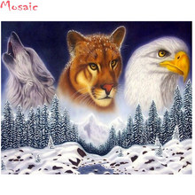5d Diy Diamond Painting snow mountain Diamond Embroidery eagle wolf lion Decorations For Home Rhinestones Pictures Crafts(China)