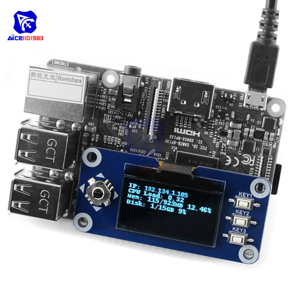 diymore <font><b>1</b></font>.3 <font><b>inch</b></font> OLED <font><b>Display</b></font> HAT SH1106 128x64 <font><b>LCD</b></font> Expansion Board 4-Wire/3-Wire/I2C Interface for Raspberry Pi 2B/3B/Zero/W image