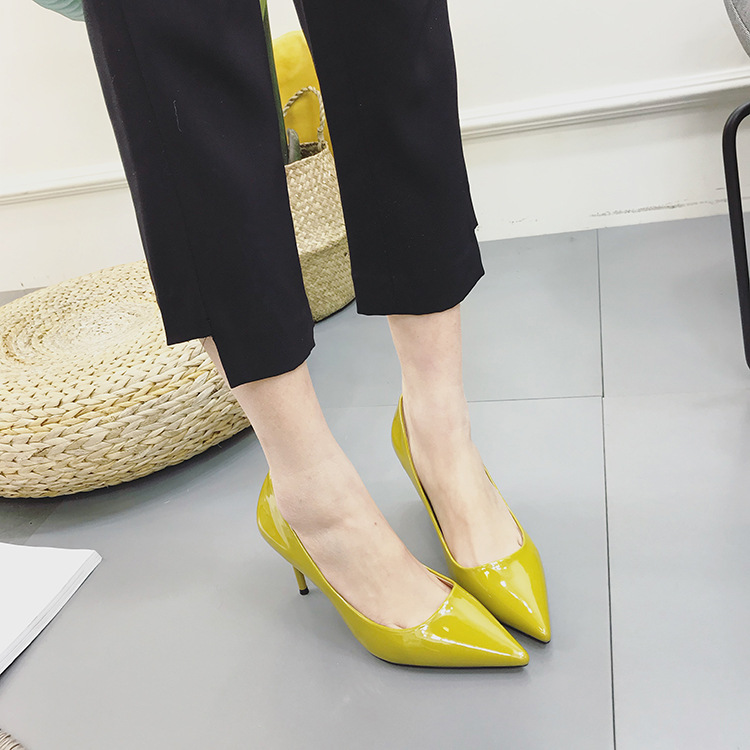 2018 New Style Spring Summer Fashion High Heels Thin Heeled WOMEN'S Shoes Pearly Lustre Pointed-Toe Light Board Versatile Slimmi