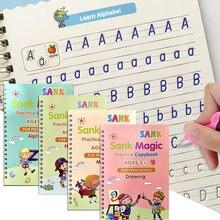 4 livros reutilizáveis copybook para caligrafia aprender alfabeto pintura aritmética matemática crianças escrita prática livros brinquedos do bebê