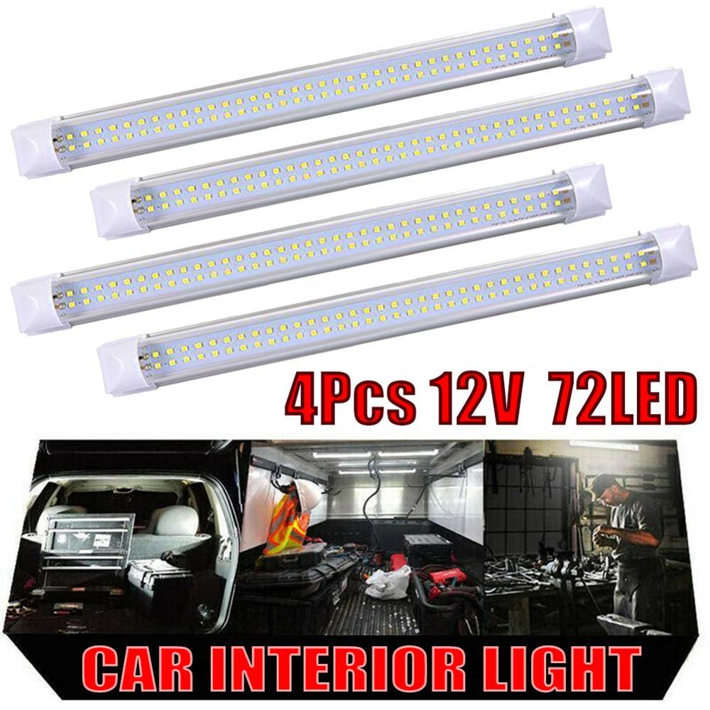 2* DC12V 72LED Car Interior White Strip Light Bar Lamp Car Van Caravan Boat Home