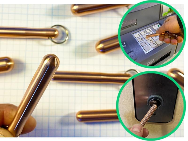 New Antitouch Brass Antibacterial  Door Opener Door Hook Stylus Anti-epidemic Product Zero Contact Knob Press Elevator Artifact