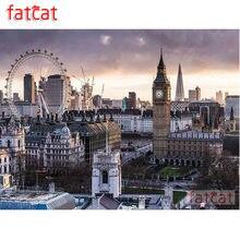Fatcat 5d diy pintura diamante london city view quadrado completo broca redonda diamante bordado venda mosaico arte decoração ae2212
