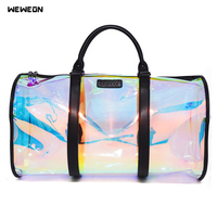 Transparent Rainbow Laser Sport Bag Women Colorful Fitness/Luggage Bag Reflective Suitcase Bags Lady/Gril PVC Travel Handbag