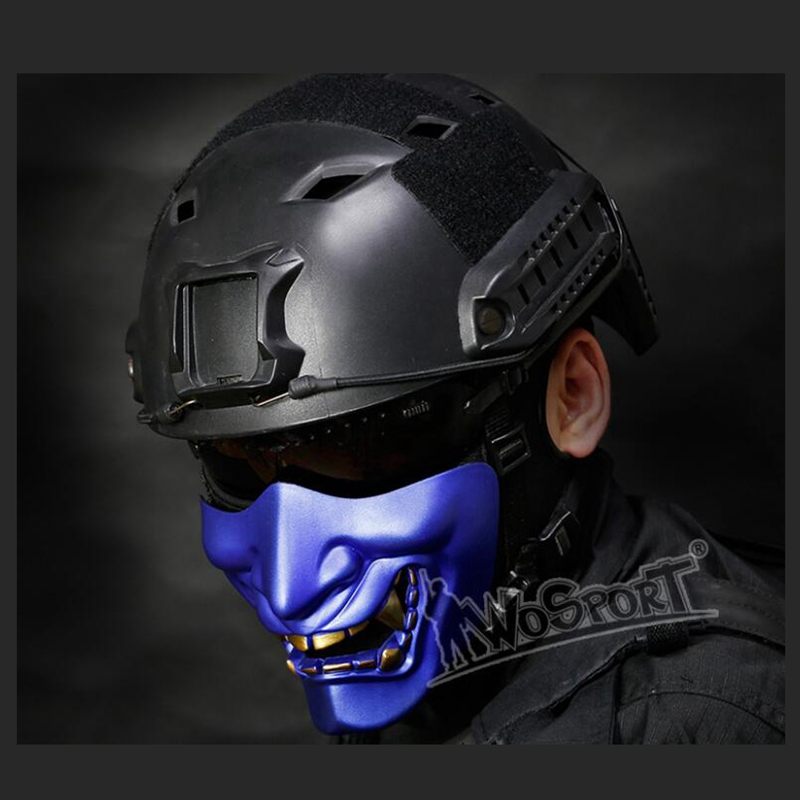 New Prajna Halloween Ball Devil Horror Female Adult Male Grimace Half Face Tactical Mask Game Cosplay Outdoor Mask Samurai Mask