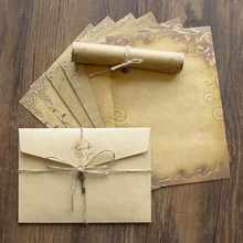 Envelope Letter Invitation Kraft Writing-Paper Vintage with Rope-Accessories Pad-Set