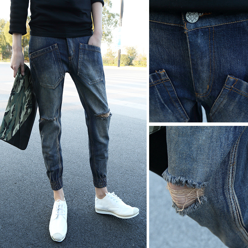 Autumn Clothing Cool Men Knee With Holes Denim (Ankle-length Pants) Korean-style Slim Fit Beam Leg Closing Harem Pants Skinny Pa