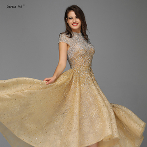 Image 5 - Dubai luxe argent asymétrique robes de soirée 2020 col haut perles paillettes robe formelle sereine colline LA60757