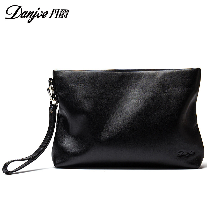 Dan jue New Style Full-grain Leather Men Business Casual Large-Volume Clutch Simple Design Men's Handbag Men's Bag