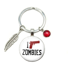 2019 New Hot I Shoot Zombies Time Glass Dome Keychain 8 Color Crystal Alloy Leaves Jewelry Key Ring Small Gift цена и фото