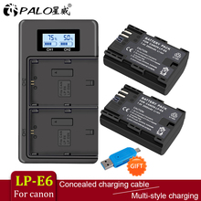 PALO 2 PCS lp-e6 digital battery + LCD display Comes with USB LP E6 batteries charger For Canon EOS 5D Mark IV 7D Mark II 6D 70D mcoplus bg 5diil lcd battery grip for canon eos 5d mark ii ir wireless remote control 2x lp e6 battery