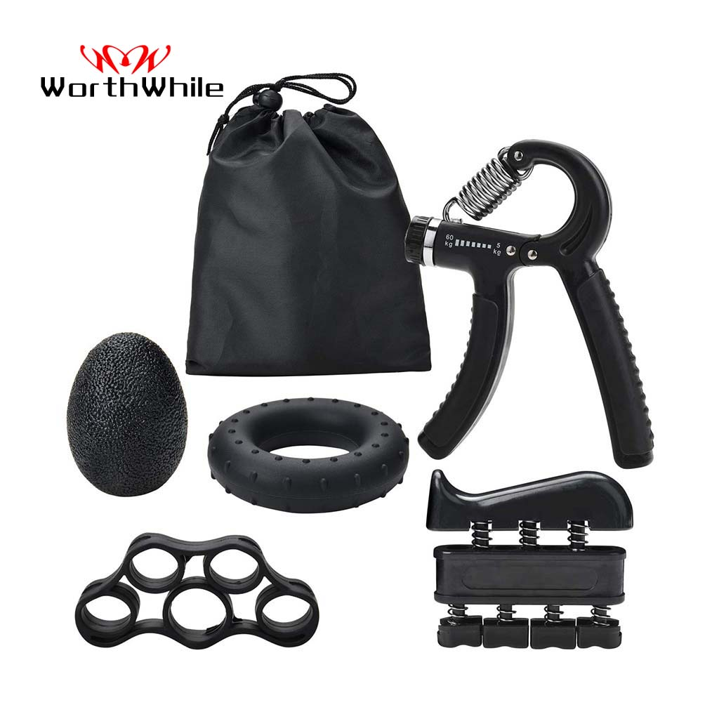 WorthWhile 5PC/Set Gym Fitness Adjustable Hand Grip Set Finger Forearm Strength Muscle Recovery Hand Gripper Exerciser Trainer