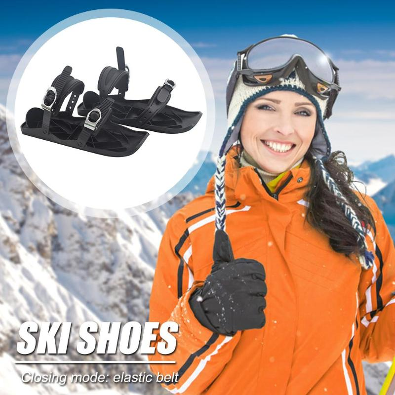 Durable Ski Shoes Portable Delicate Design 1 Pair Winter Ski Shoes Outdoor Sports Mini Sled Snow Board Boots Shoes Black