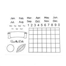 Exceart 2 Pcs Silicone Clear Stamps Seal Stamps Week Month Calendar Stamps for Photo Scrapbooking Card Making Album Book