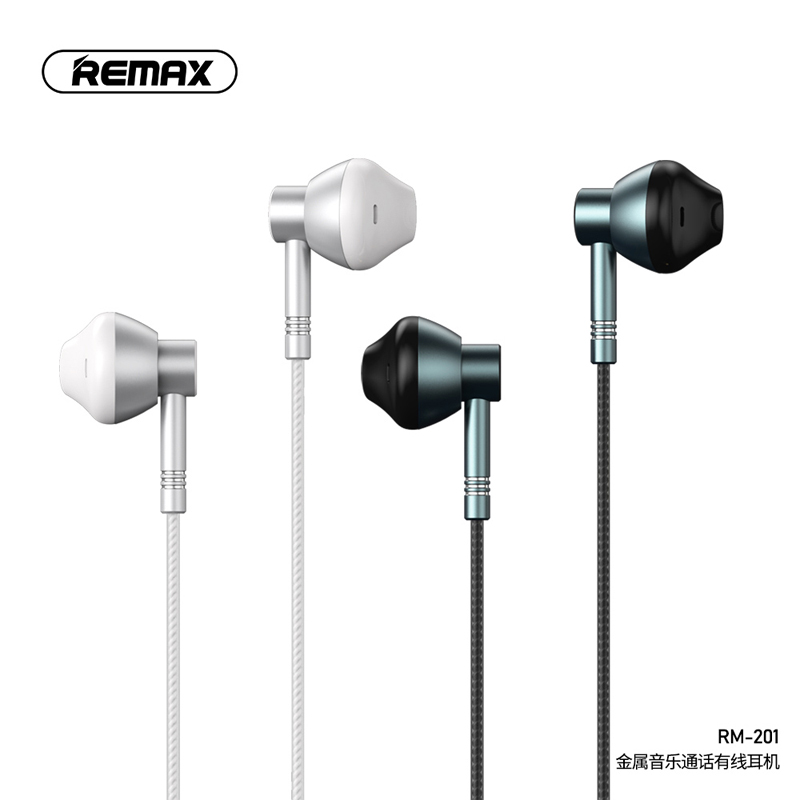 Remax In Ear Headphone Metal Music Call Wired Earphone 3.5mm Drive-by-wire Strong Compatibility Wearing Comfort