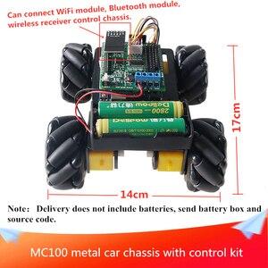 Mc100 metal chassis do carro com kit de controle alumínio quadro da liga carro inteligente excelente desempenho diy fabricante aprendizagem concorrência