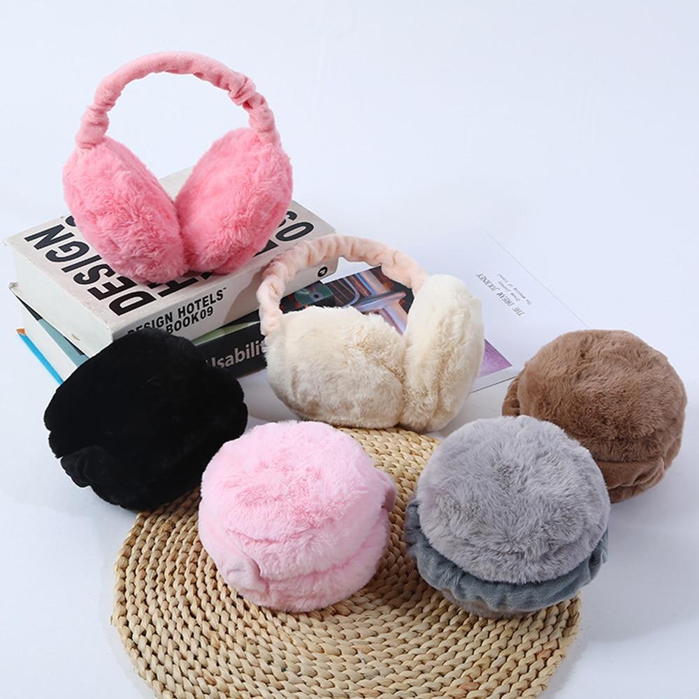 1Pcs Portable Earmuffs Folding Warm Men And Women Solid Color Winter Ear Protection Soft Plush Ear Warmer