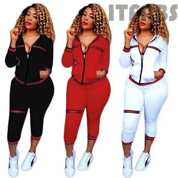 2020 Autumn Women's Sportswear 2pcs Women's Hooded Long Sleeve Zip Crop Tops Long Pants Trousers Loose Casual Clothes Set 6