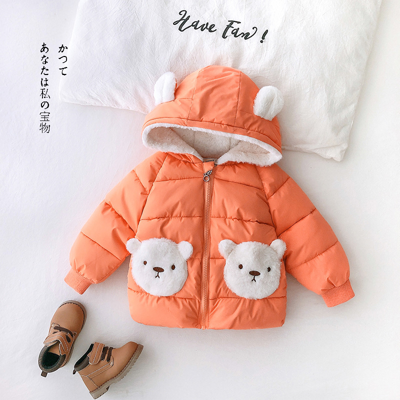 Winter Clothes Toddler Cartoon Parkas For Baby Girl Thicken Warm Down Jacket Newborn Boy Hooded Outerwear Cotton Padded Overcoat