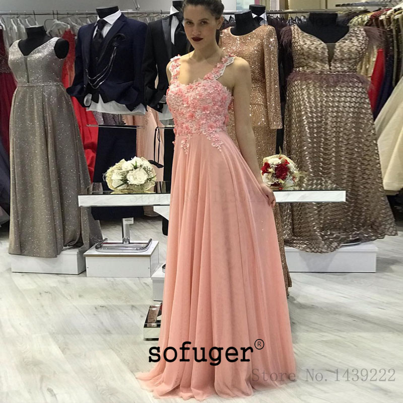Pink Girl Tulle Flowers Straps Lace Up Back Pleat Evening Dresses Prom Arabic Special Occasion Robe De Soiree Plus