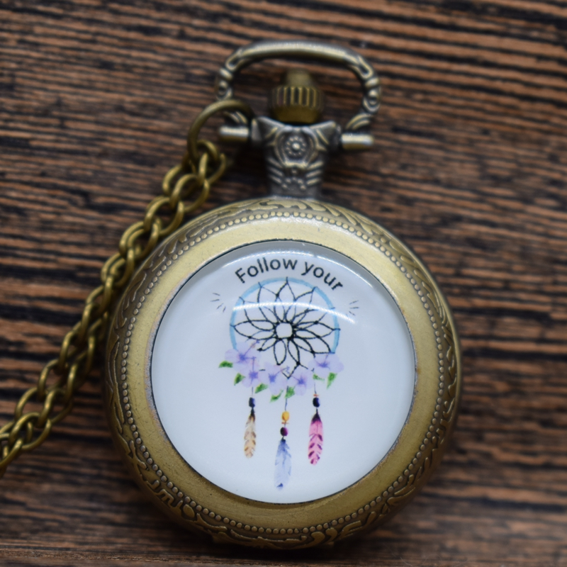 Women/Girls Dreamcatcher Follow Your Dream Pocket Watch Fashion Casual DIY Glass Necklace Pendant Watches Gift
