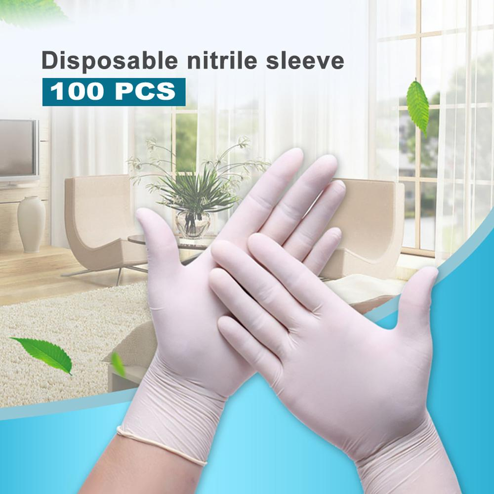 In Stock!!! 100PCS M/L Disposable Gloves White Nitrile Gloves Household Cleaning Gloves Food Laboratory Cleaning Durable Gloves