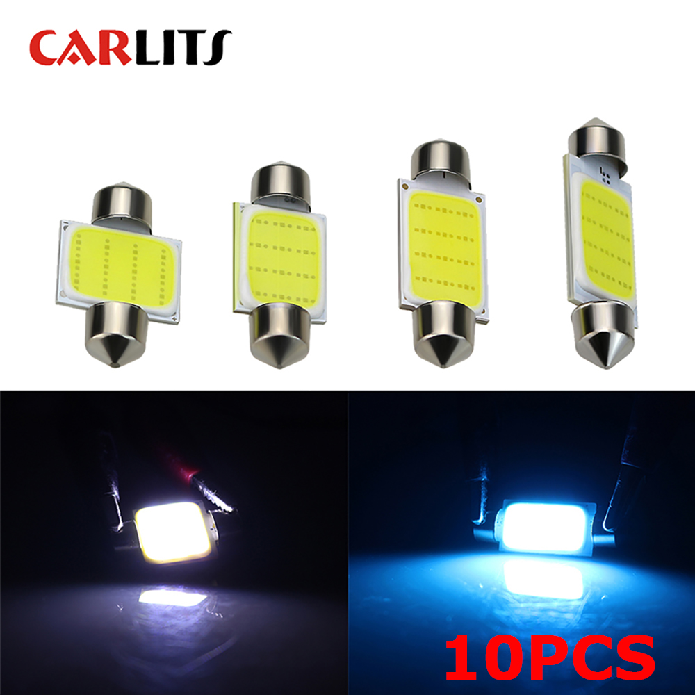 CARLITS 10X Car <font><b>Bulbs</b></font> C5W COB <font><b>LED</b></font> 12v SMD 31mm 36mm 39mm <font><b>42mm</b></font> white Dome Festoon Interior Reading License plate Lights Sourse CJ image