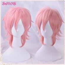 Cosplay Arichin Bitch Bu Club Ayato Yuri Pink Short Cosplay Wig Anime Hair Halloween Role Playing Free Wig Cap