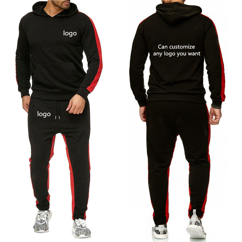Spring  Men Hoodies Custom Logo Car Anime Funny Print Men Pullover  Casual Harajuku Cotton Men Sportwear Pants Suit 2Pcs