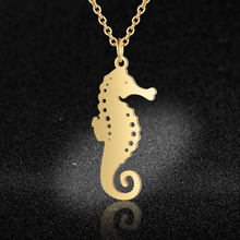 100% Real Stainless Steel Hollow Sea Horse Necklace Fashion Animal Pendant Necklaces Super Quality Personality Jewelry(China)