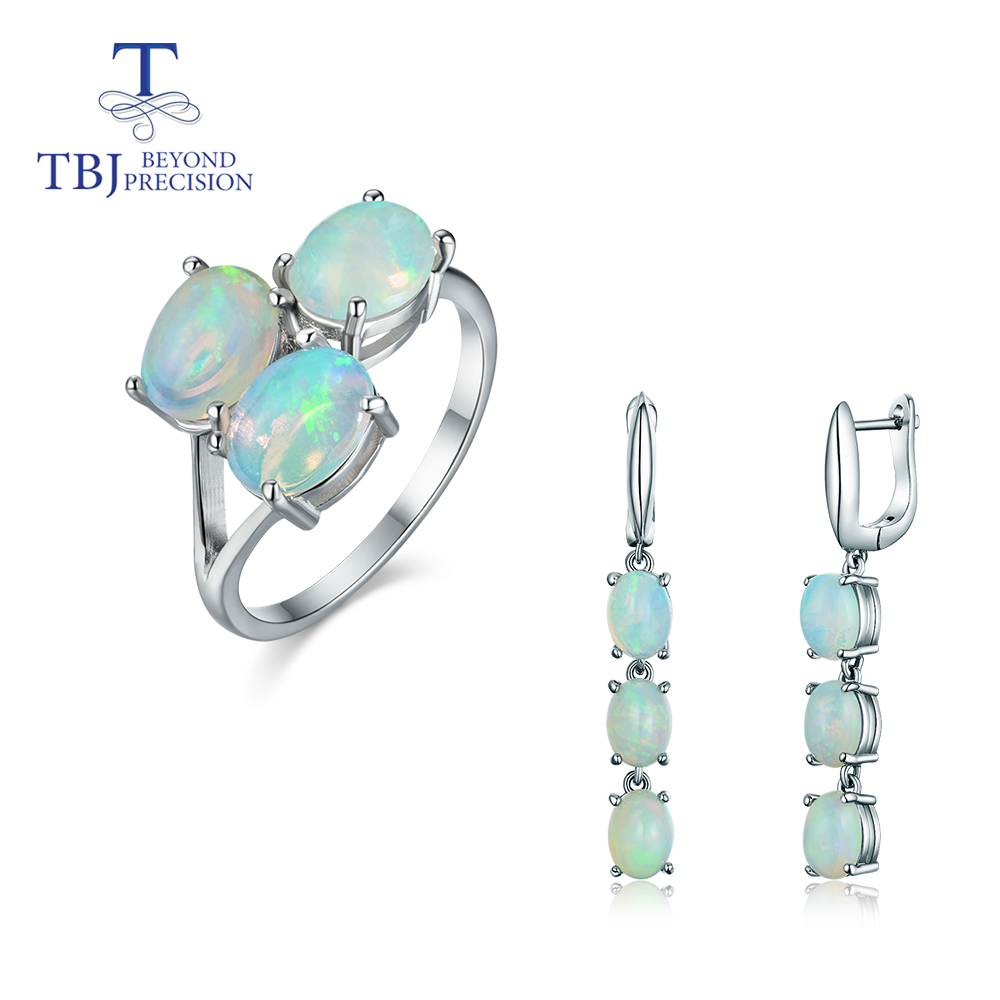 TBJ,2020 Good Quality Opal Jewelry Set Oval 6*8mm Natural Ethiopian Opal Gemstone Clasp Earring And Ring 925 Sterling Silver