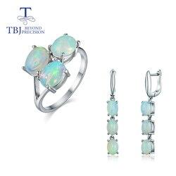 TBJ, 2020 Gute qualität Opal schmuck set oval 6*8mm natürliche äthiopischen opal edelstein verschluss ohrring und ring 925 sterling silber