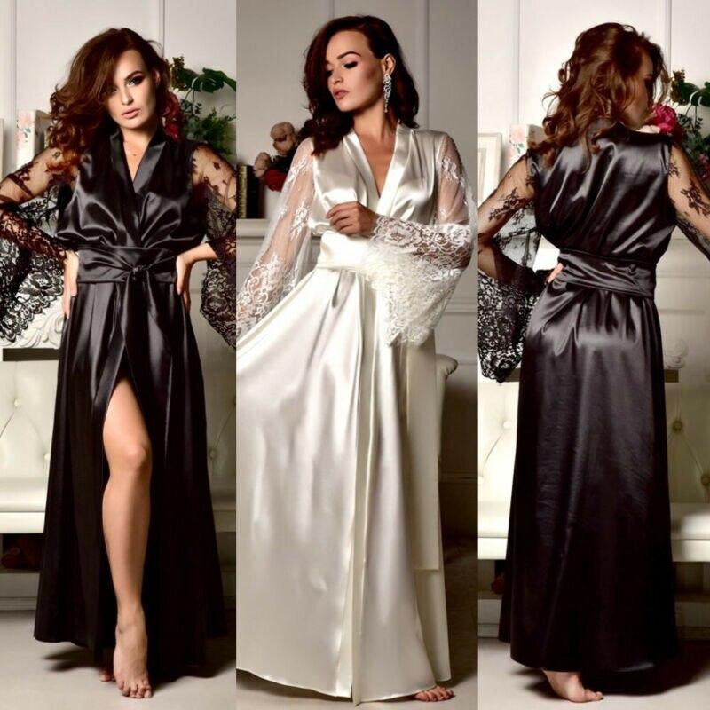 Ladies Women Satin Silk Nightdress Lingerie Lace Silky Soft Sleepwear Long Robe Nightie Gown Wedding Bridesmaid Bride Gown