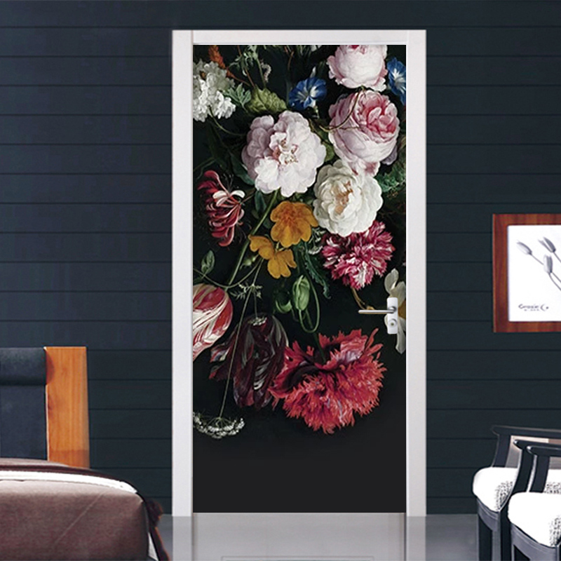 European Style Retro Flowers Door Sticker 3D Hand-painted Mural Wallpaper Living Room Bedroom Wall Sticker 3D Decal Home Design