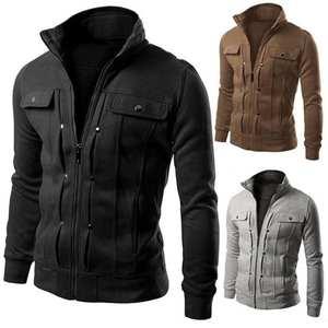 Plus Size Men Solid Color Stand Collar Long Sleeve Zip Pocket Slim Jacket Coat