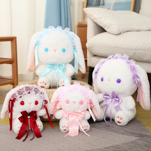 23/35cm Lolita Baby Lop Plushie White Bunny Cute Cartoon Rabbit Sitting Doll Satin Dressed Cute Animal Girls Girlfriend Present 1