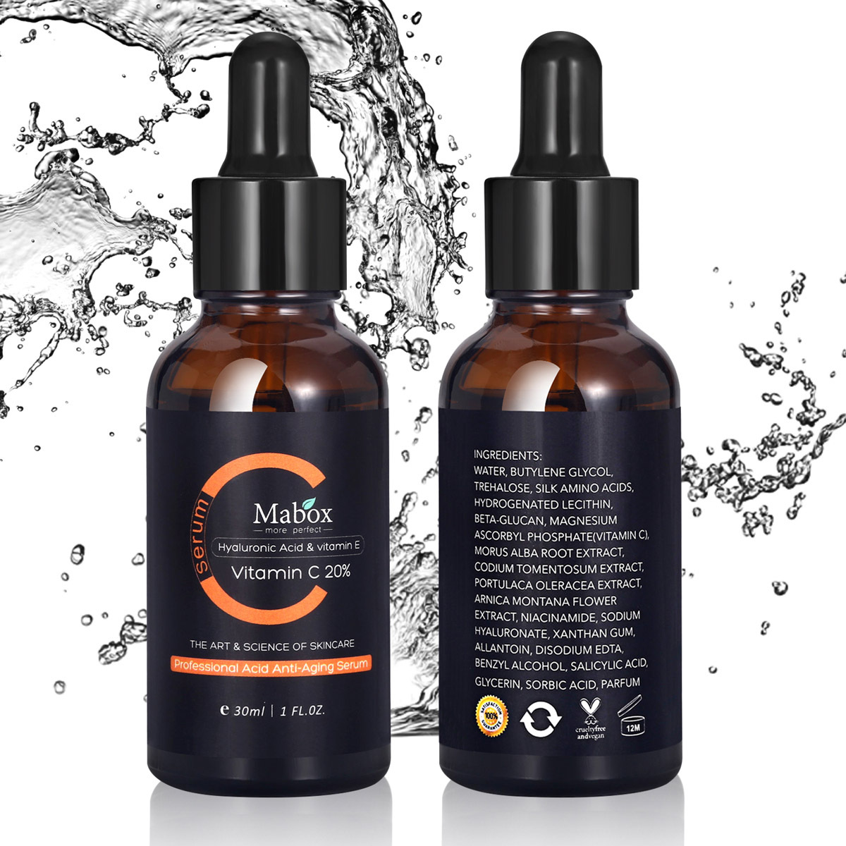 MABOX 30ML Vitamin C Serum Whitening And Anti-Aging Removing Spots And Freckle Anti Wrinkles Moisturizing Facial Tools Drop Ship