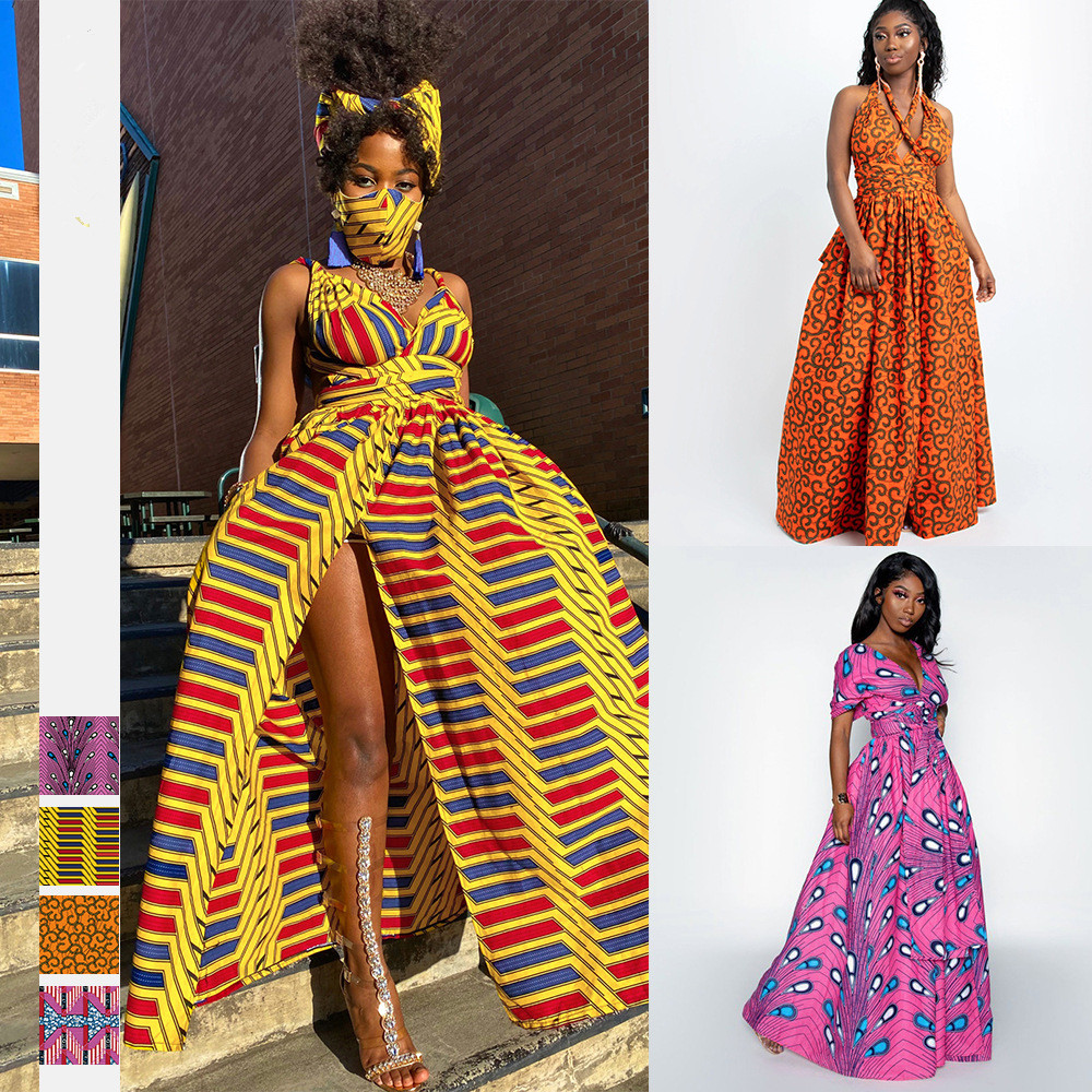 Новые осенние женские пикантные модные платья в африканском стиле с цифровым принтом Платья с разрезом Африканские Этнические платья с шир...