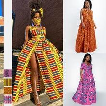 Nuevo estilo africano Impresión digital otoño moda mujer sexy de vestidos con puntas vestidos étnico africano grande vestidos
