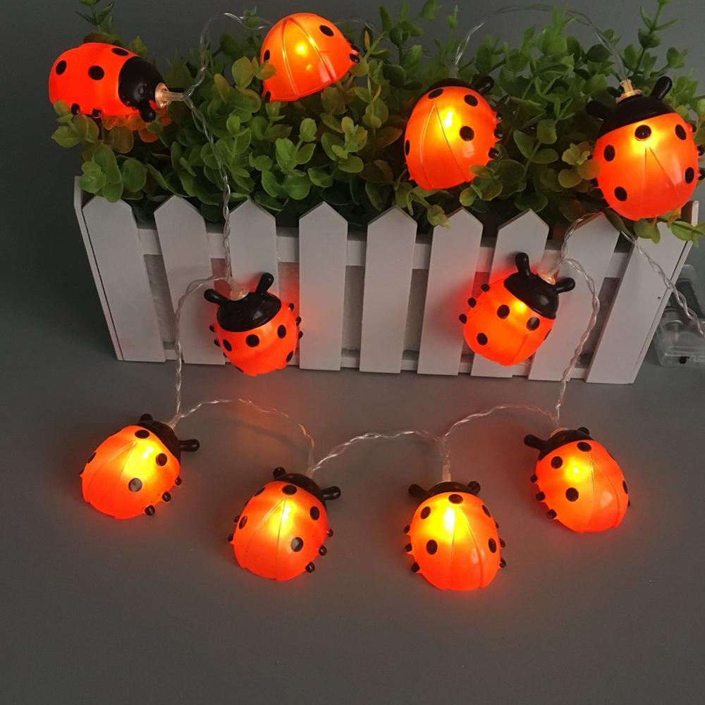 Battery Powered Ladybugs Led String Fairy Light Outdoor Garden Fence Patio Christmas Garland Night Lights Holiday Decorative