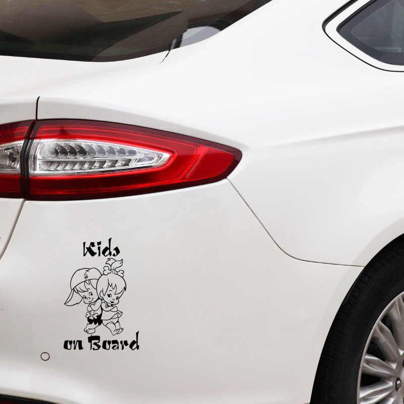 Pegatina de advertencia para coche de dibujos animados Aliauto niños lindos a bordo decoración vinilo calcomanía para Vw Polo Golf Ford Focus Audi A3, 19cm * 13cm