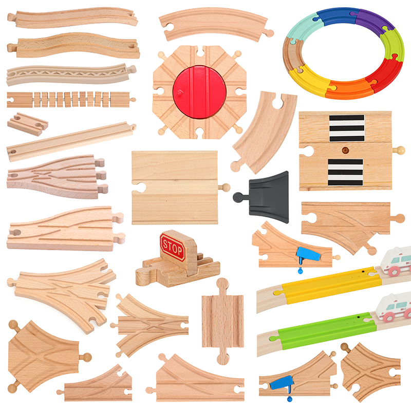 All Kinds Wooden Track Parts Beech Wooden Railway Train Track Toy Accessories Fit Biro All Brands Wood Tracks Toys For Kids Boy