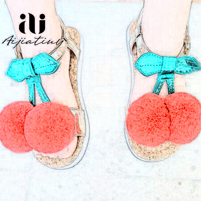 Fashion Cute Toddler Girls Sandals Summer Kids Shoes Leather Flat Sandals For Little Girls Soft Sole Baby School Cherry Sandals