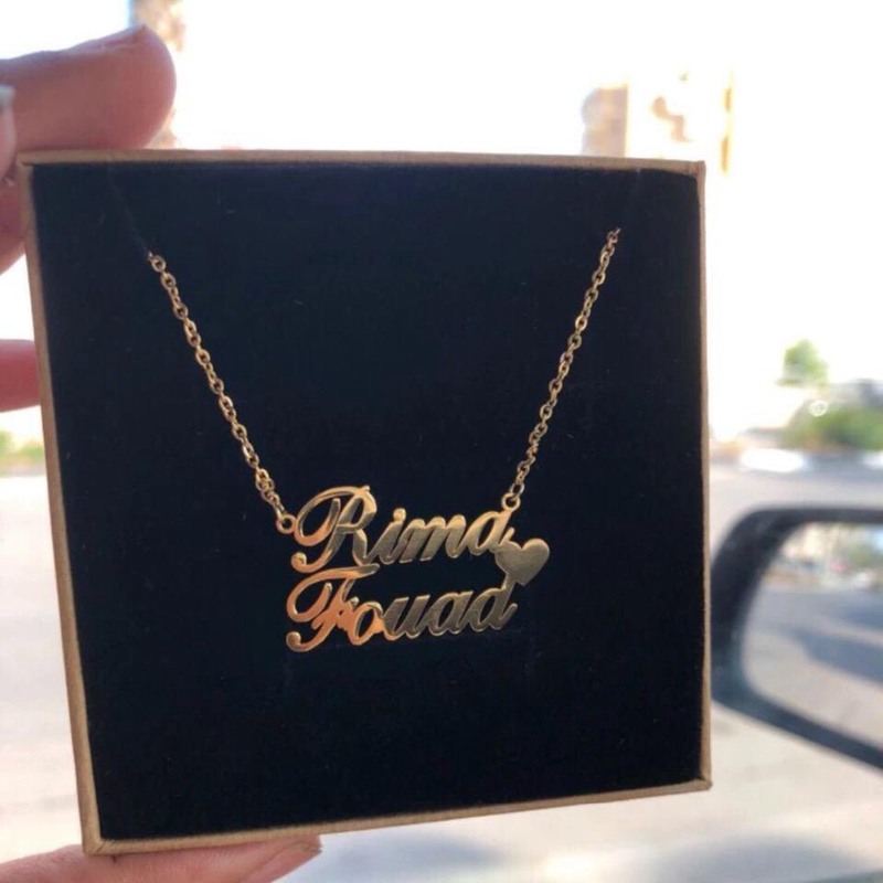 Personalized Couple Name Pendant Necklaces Stainless Steel Custom 1-3 Names Heart Necklace Women Handmade Jewelry Birthday Gift