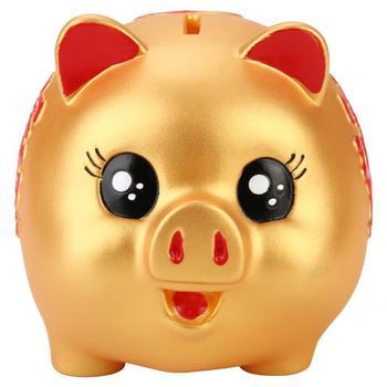 Złoty śliczny plastikowy świnia Bank zabawka świnka moneta pieniądze gotówka kolekcjonerska skarbonka skarbonka skarbonka sprawa monety kreskówka skarbonka tanie i dobre opinie TOPINCN CN (pochodzenie) Pig Bank Z żywicy owalne